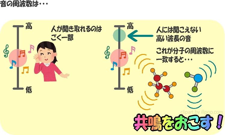 音の周波数は……人が聞き取れるのはごく一部。人には聞こえない高い波長の音。これが分子の周波数に一致すると……共鳴をおこす!